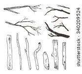 a set of twigs and sticks | Shutterstock .eps vector #340209524