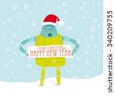 vintage robot wearing santa's... | Shutterstock .eps vector #340209755