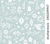 seamless christmas pattern  | Shutterstock .eps vector #340209947