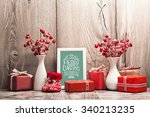 christmas background with gifts ... | Shutterstock . vector #340213235