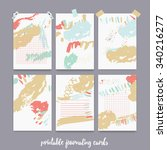 set  of printable journal cards ... | Shutterstock .eps vector #340216277