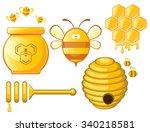 bee and honey set. vector  | Shutterstock .eps vector #340218581