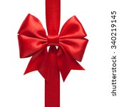 single shiny gift bow  red... | Shutterstock . vector #340219145