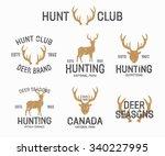 set of vintage hunting and deer ...   Shutterstock .eps vector #340227995