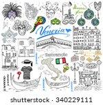 venice italy sketch elements.... | Shutterstock .eps vector #340229111