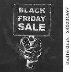 black friday sale on blackboard.... | Shutterstock .eps vector #340231697