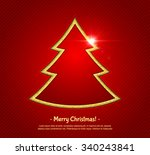 golden christmas tree with... | Shutterstock .eps vector #340243841