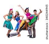 cabaret dancer team dancing.... | Shutterstock . vector #340244945