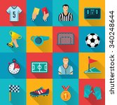 soccer flat icons set with... | Shutterstock .eps vector #340248644