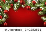 christmas red background with... | Shutterstock .eps vector #340253591