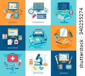 different profession workspace... | Shutterstock .eps vector #340255274