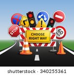choose right way realistic... | Shutterstock .eps vector #340255361