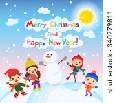 shiny christmas background with ... | Shutterstock . vector #340279811