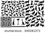 Stock vector black isolated cat silhouette set 340281371