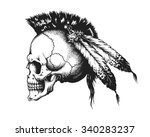 hand drawn indian warrior skull ... | Shutterstock .eps vector #340283237
