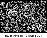 floral ornament  hand drawn... | Shutterstock .eps vector #340285904