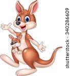 Cartoon Cute Kangaroo Waving...