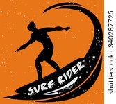 creative poster with surfer... | Shutterstock .eps vector #340287725