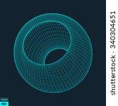 3d sphere. global digital... | Shutterstock .eps vector #340304651