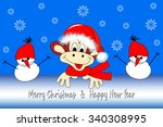 new year's card with an amusing ... | Shutterstock .eps vector #340308995