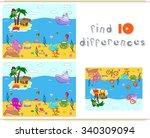 underwater world  ocean floor... | Shutterstock .eps vector #340309094