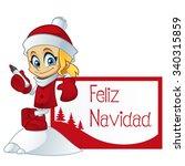 girl dressed in santa claus ...   Shutterstock .eps vector #340315859