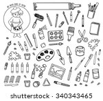 artist tools sketch hand drawn... | Shutterstock .eps vector #340343465