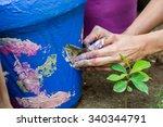 women hands covered in... | Shutterstock . vector #340344791