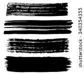 black ink stroke. collection of ... | Shutterstock .eps vector #340354355