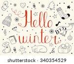 hello winter. vector doodle... | Shutterstock .eps vector #340354529