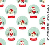 christmas snow globe with... | Shutterstock .eps vector #340356371