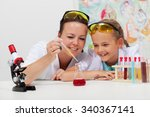 young student and teacher in... | Shutterstock . vector #340367141
