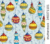 christmas seamless pattern with ... | Shutterstock .eps vector #340371101