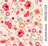 seamless paisley and flower... | Shutterstock .eps vector #340381229