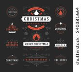 christmas labels and badges... | Shutterstock .eps vector #340381664