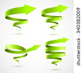 set of green spiral arrows 3d. | Shutterstock .eps vector #340382009