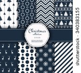 collection of patterns. merry... | Shutterstock .eps vector #340383155