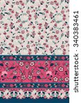seamless paisley and flower... | Shutterstock .eps vector #340383461