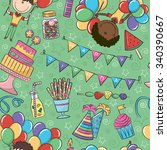birthday party seamless pattern ... | Shutterstock .eps vector #340390667