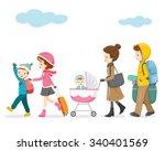 family walking to travel ...   Shutterstock .eps vector #340401569