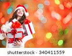 Smiling Woman With Christmas...