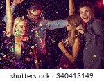 four young people having fun... | Shutterstock . vector #340413149