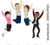happy business workers jumping... | Shutterstock .eps vector #340414964