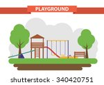 a children's playground in a... | Shutterstock .eps vector #340420751
