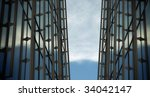Technological background with metallic structure and a sky partially clear. - stock photo