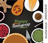 vegan thanksgiving meal...   Shutterstock . vector #340423445