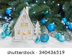 white christmas house with blue ... | Shutterstock . vector #340436519