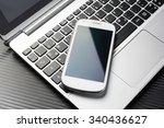 blank white business smartphone ...   Shutterstock . vector #340436627