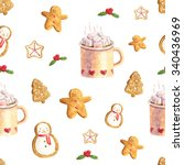 watercolor christmas cute... | Shutterstock . vector #340436969