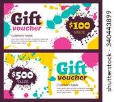 vector gift voucher with... | Shutterstock .eps vector #340443899